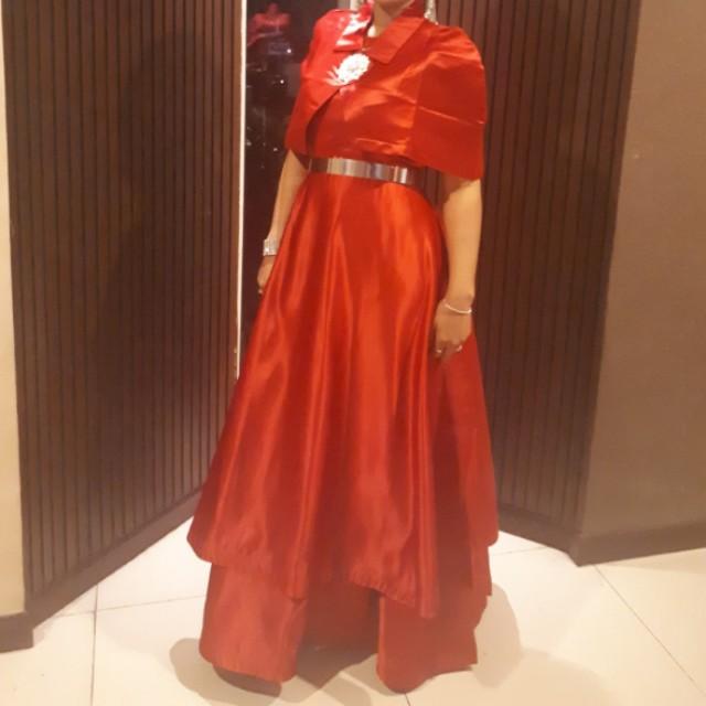 Dress satin bridal red