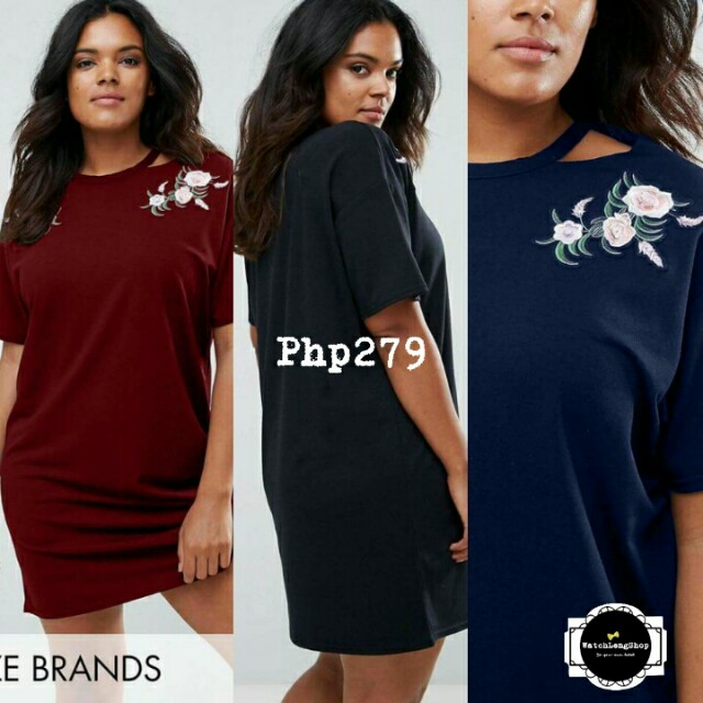 💋Embroidered Floral Plus Size Tee Shirt Dress