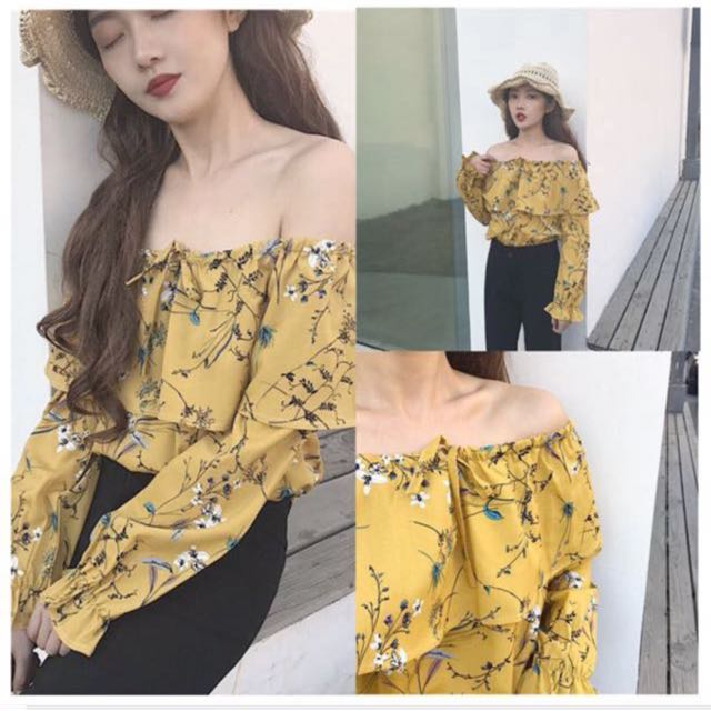 f042ffbc6a65 FLORAL YELLOW MUSTARD OFF SHOULDER TOP, Women's Fashion, Clothes, Tops on  Carousell