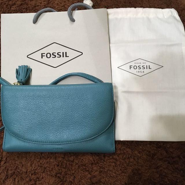 Fossil小牛皮 可背長夾包包(正品