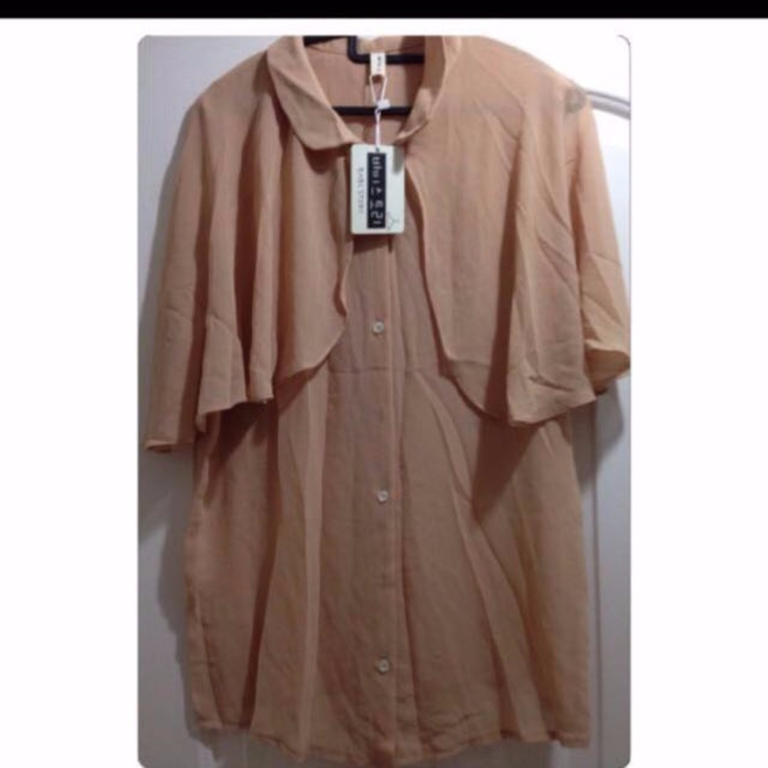 *FREE NM* - NEW with tag - Chiffon Latte Brown Top With Cape Sleeve Blouse With Buttons