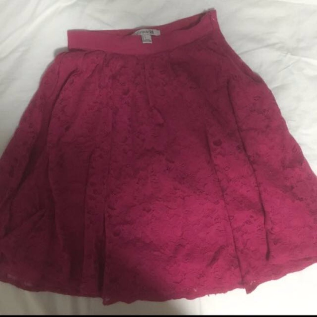 FREE NM - SALE - Forever 21 - F21 Fuschia Pink Lace Skirt - Size S