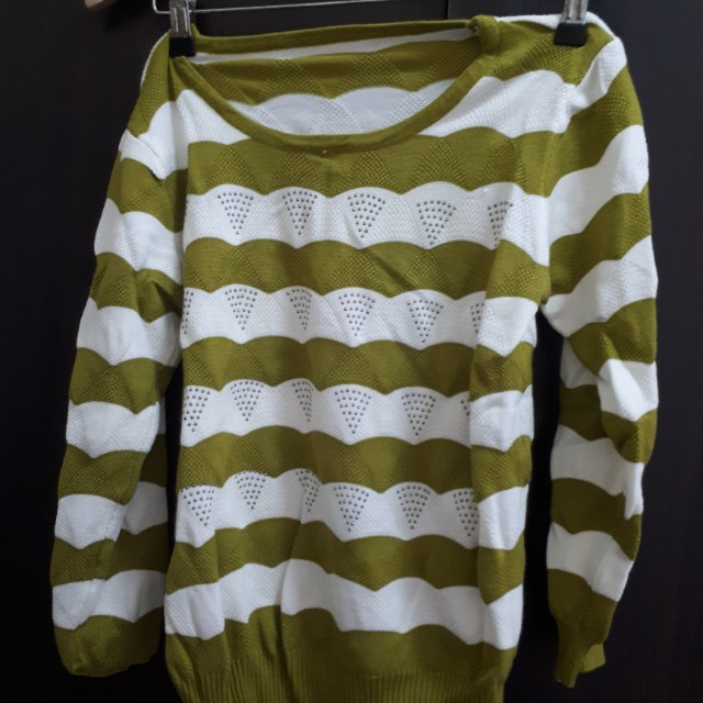 Green and white striped studded knit sweater top