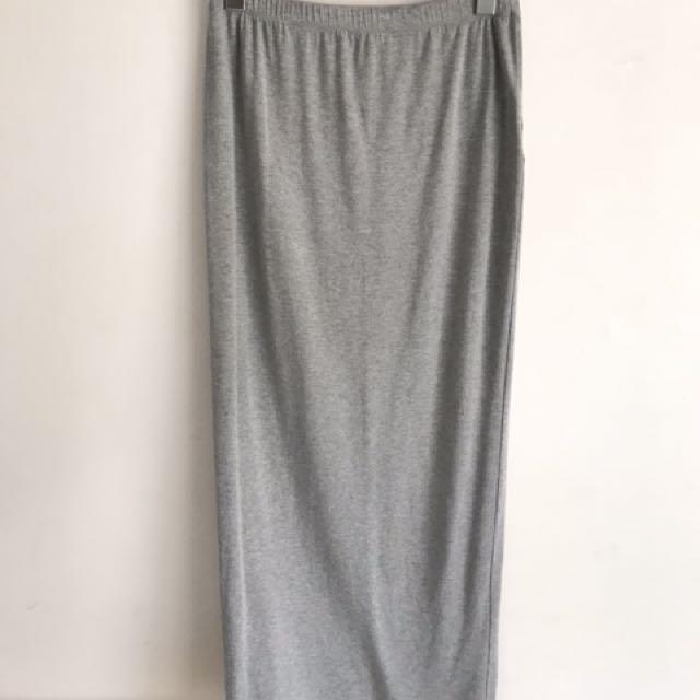 Grey everyday casual maxi skirt