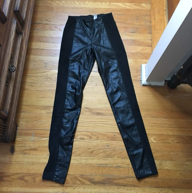 H and m suede and leather pants