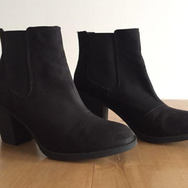 H\u0026M black suede ankle boots, Women's