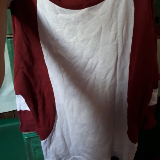 Human maroon and white 3/4 sleeves