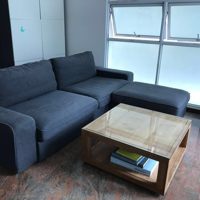 Ikea Kivik Bed Sofa Couch 3 Seater Plus Foot Stool Furniture Sofas