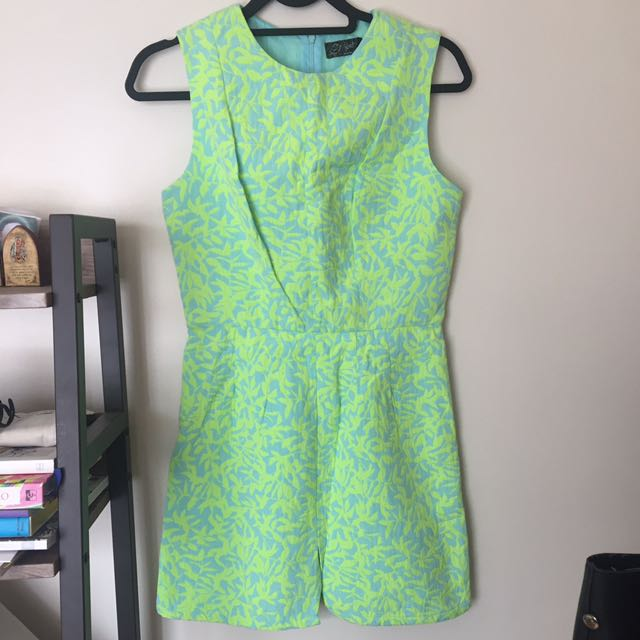 JUSTG Bright Green Floral Dress