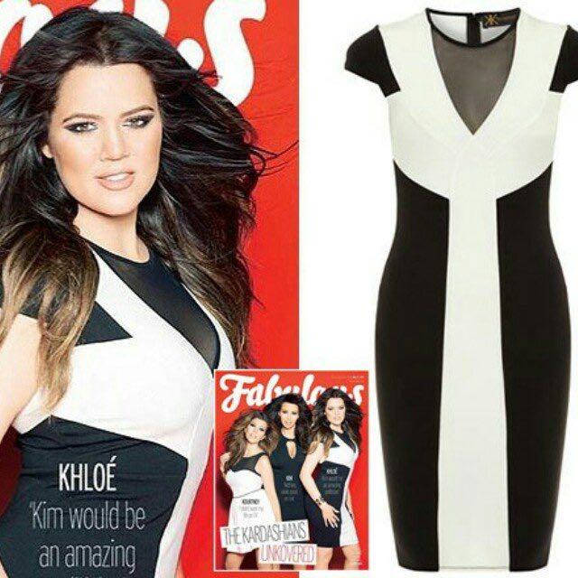 Kardashian Kollection Size 10 Black and White Bodycon Dress AS SEEN ON KHLOE K