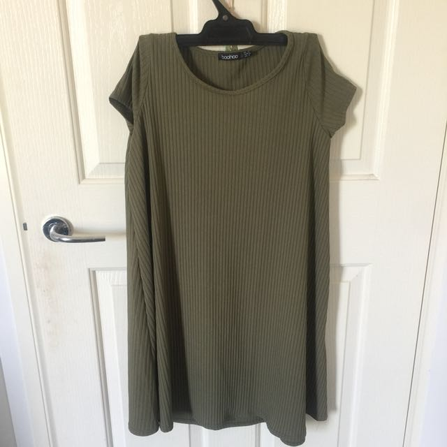 Khaki colour dress, fits 8-10