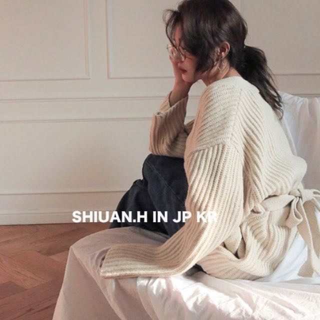 KR 2017 11月韓國帶回秋冬新款stylenanda復古浴袍式綁帶羅紋針織開衫