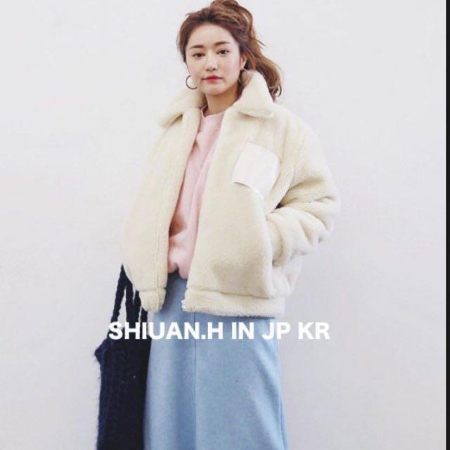 KR 2017 11月韓國帶回秋冬新款stylenanda立領可愛毛绒绒寬鬆保暖加厚夾棉短外套