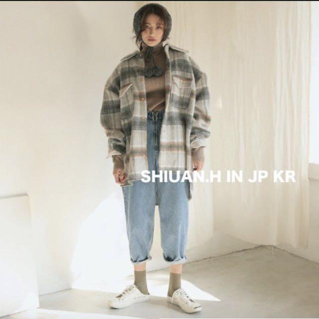 KR 2017 11月韓國帶回秋冬新款stylenanda復古格子口袋毛呢寬鬆中長款翻領襯衫