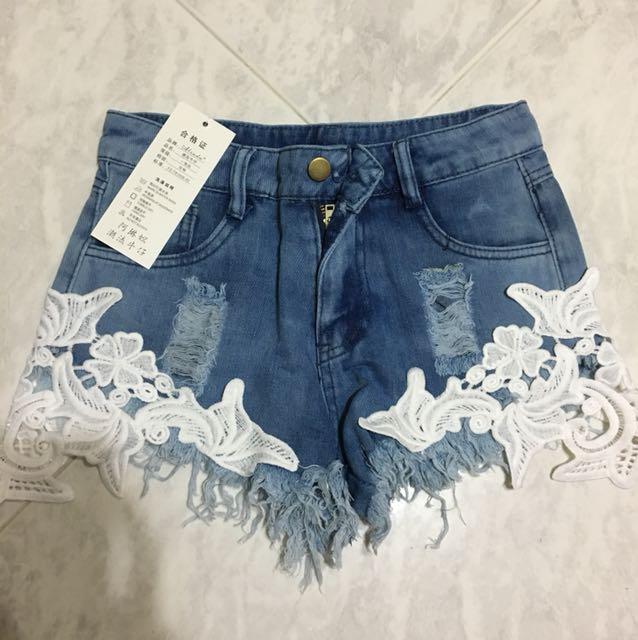 Laced Denim Shorts