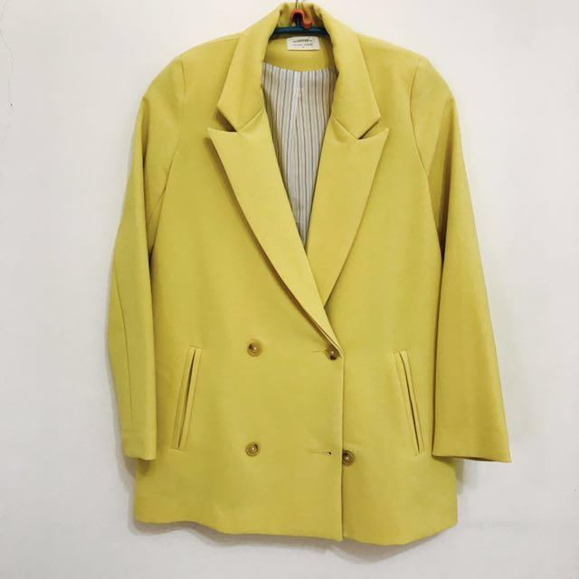 Lovfee黃色雙排扣西裝外套