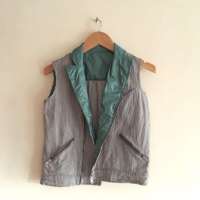 Mao sample stripe denim vest