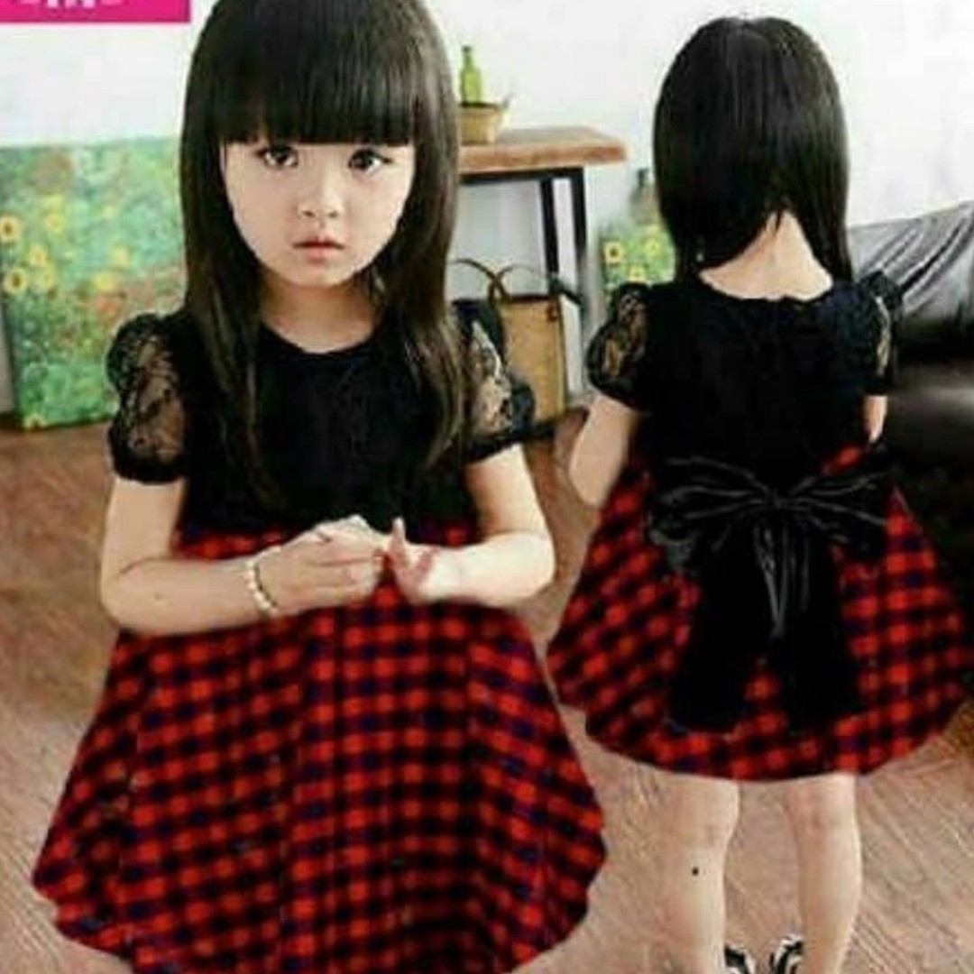 Midi Dress Anak Pita Belakang Rok Kotak Kotak