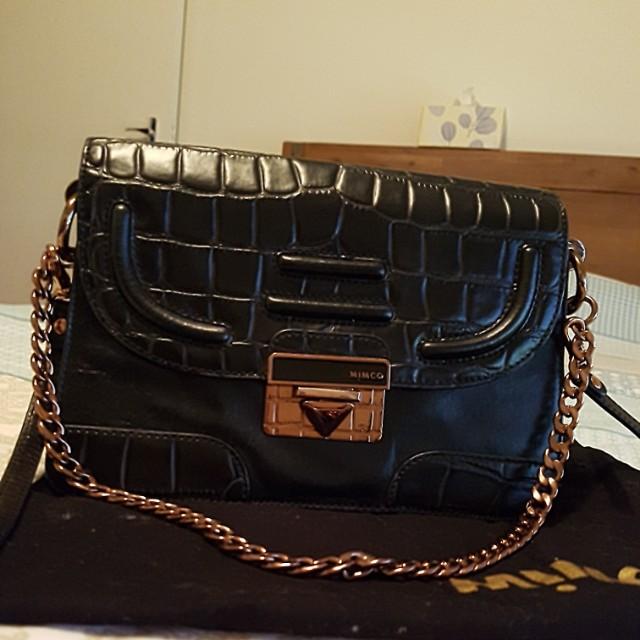 Mimco black/rosegold side bag
