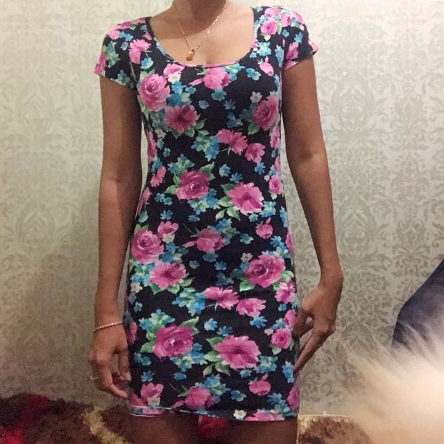 Mini Dress flowers fitbody .. dress bunga bunga