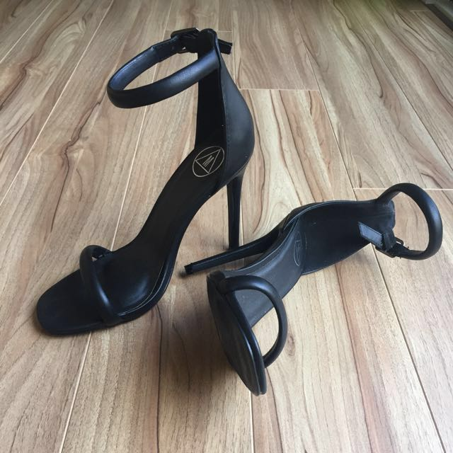 Missguided black strap heels size 37/6