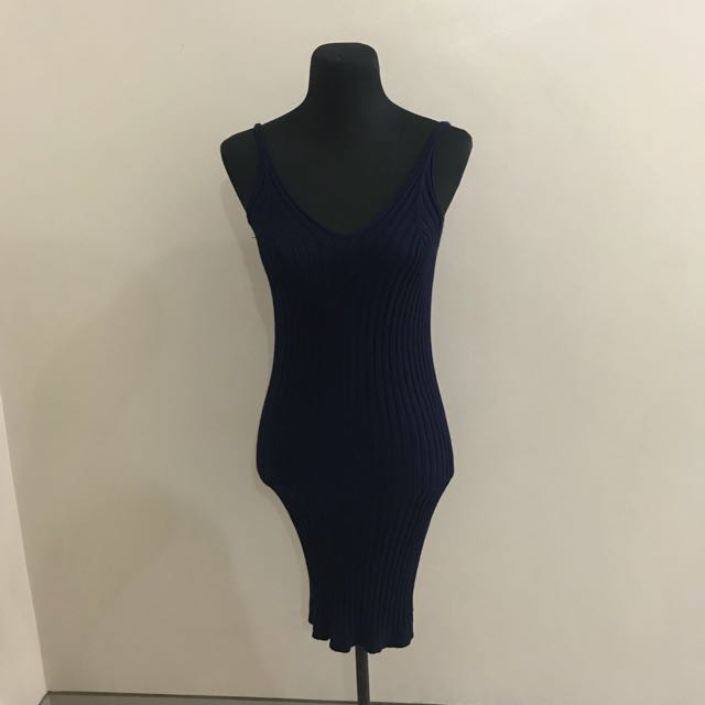 Navy Blue Knitted Dress