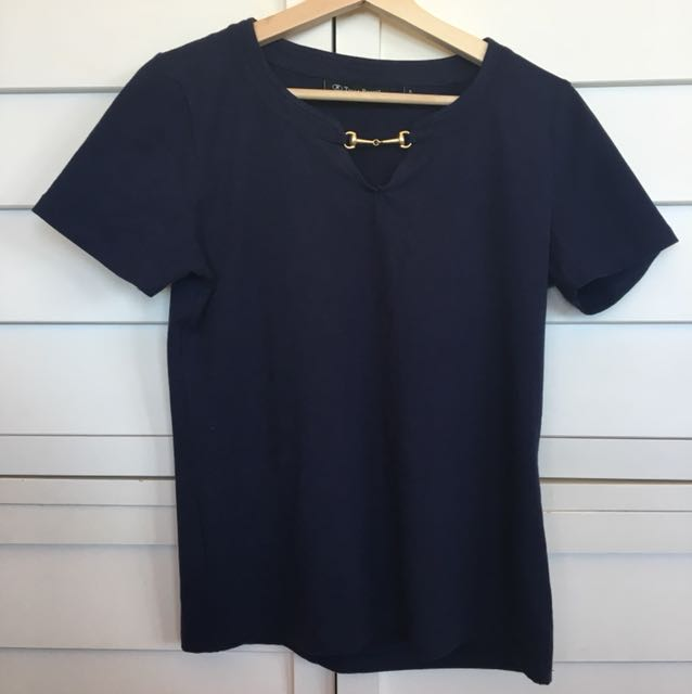 Navy blue top gold detail