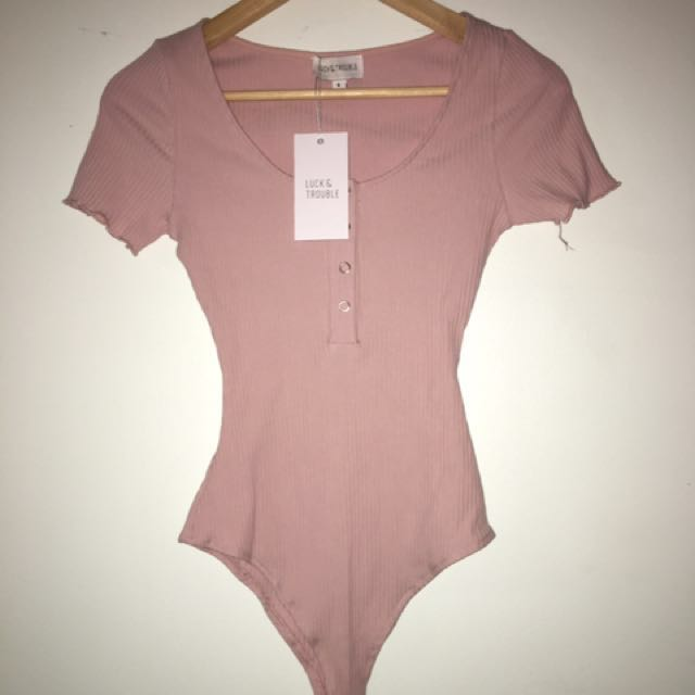 New Luck & Trouble Pink Salmon Sleeve Button Bodysuit Top