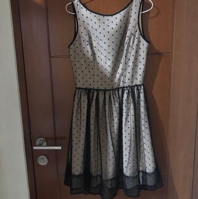 Nude polkadot dress