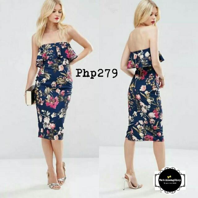 Online Sale: P279 only !!!  💋3D Floral Off Shoulder Dress
