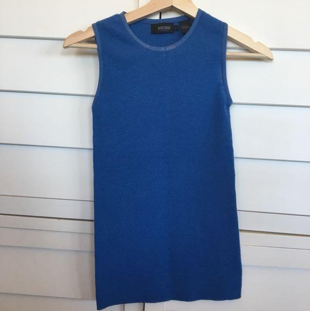 Oxford blue knit tank top