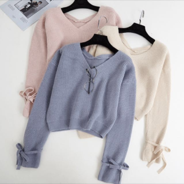 Pastel Knitted V Neck Top