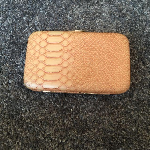 Peach snake skin wallet