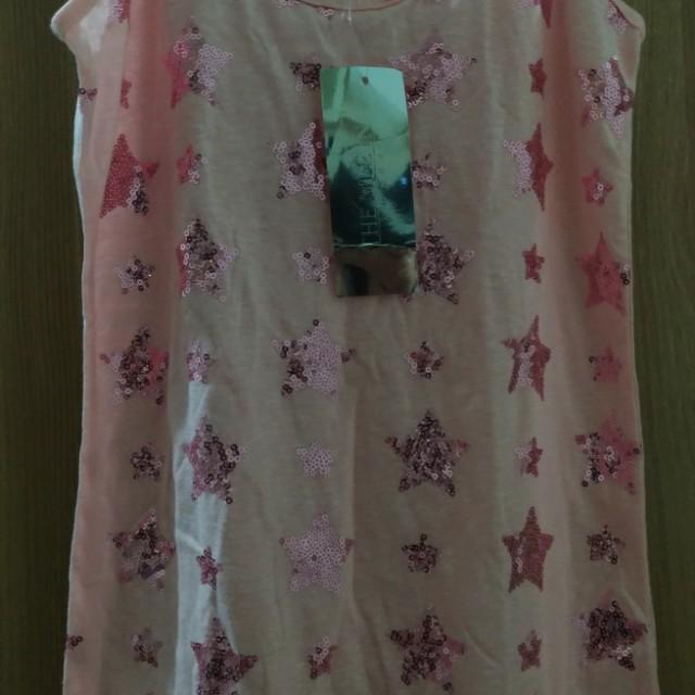 Pink Top with Star Design Sequins