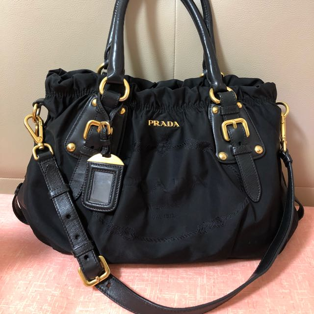1733b16f763b Prada Nylon Jacquard + Nappa Nero, Luxury, Bags & Wallets on Carousell