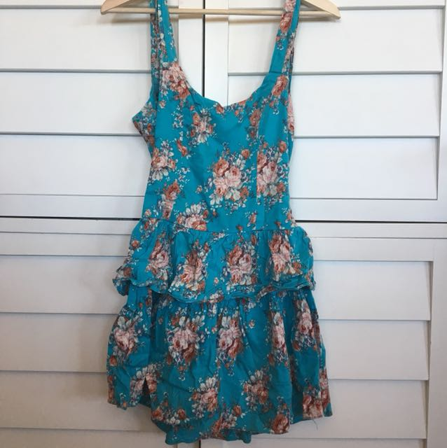 Pretty blue summer dress tie back
