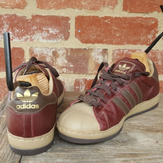 RARE Adidas Burgundy Leather Custom Superstar  Sneakers FREE POST