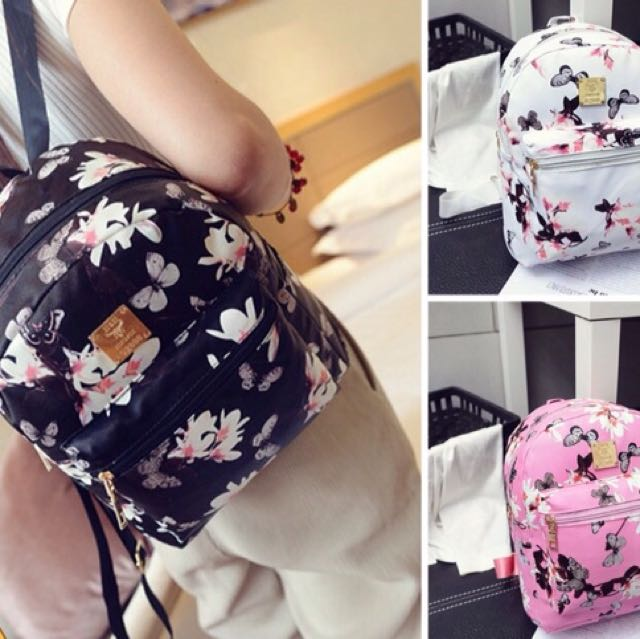 (READY STOCK) Floral Butterfly Women's Backpack
