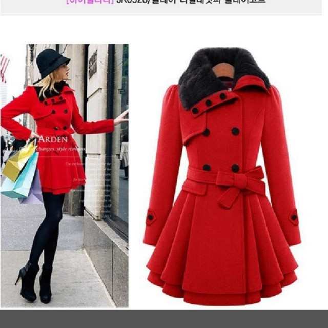 Red Fashion Pea Coat (Size L or M)
