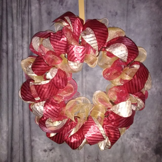 Red gold holiday wreath