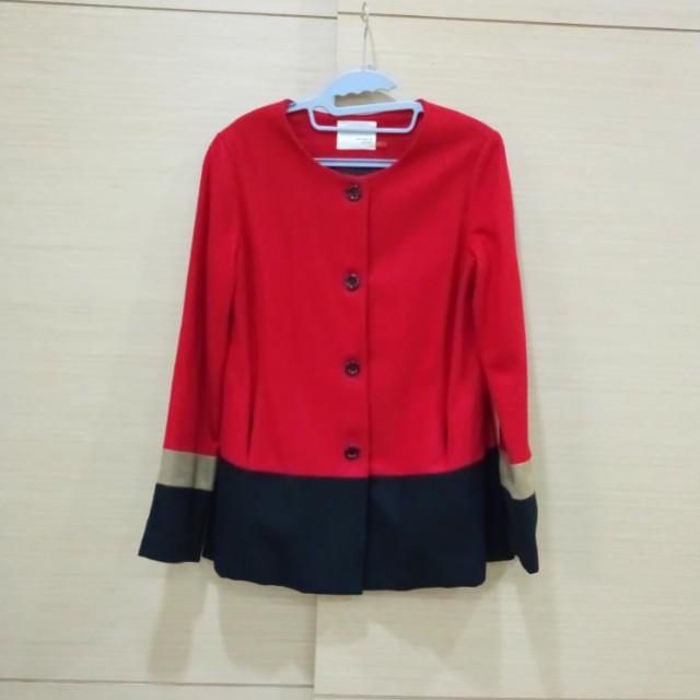 特價!RHYME&ECHO美國設計師品牌拼色羊毛外套