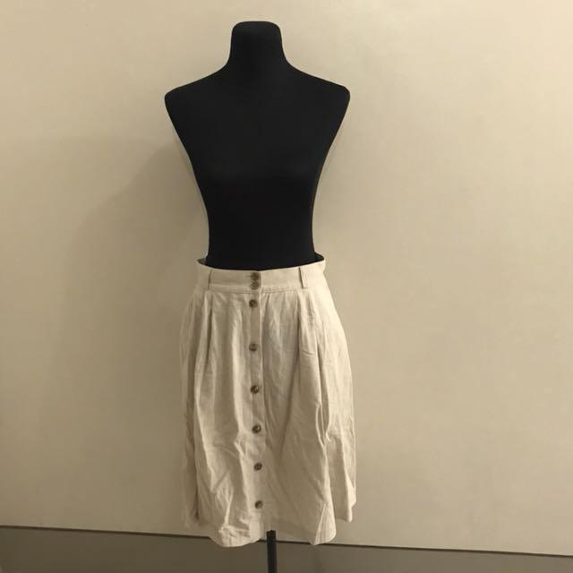 St. Micheal Button Down Safari Midi Skirt