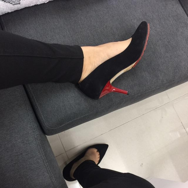 Staccato black lambskin pointed heels