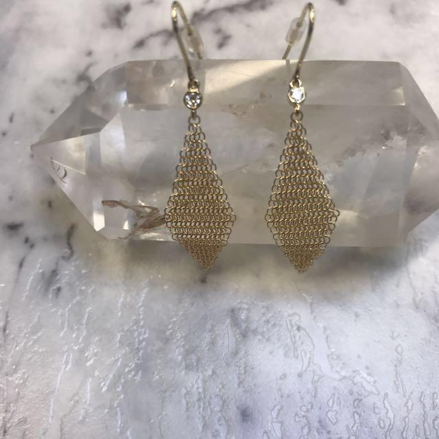 Tiffany And Co ELSA PERETTI Mesh Earrings 18K Gold With Round Brilliant Diamonds