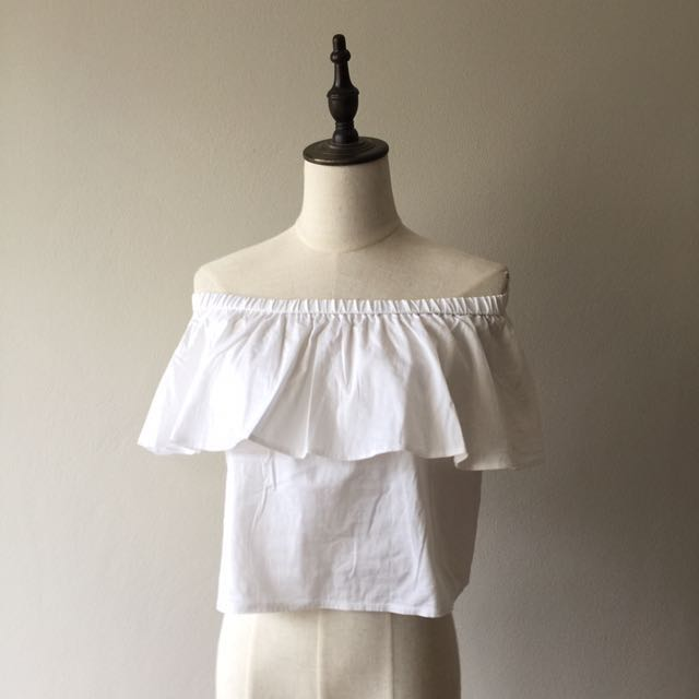 TopShop white offshoulder top