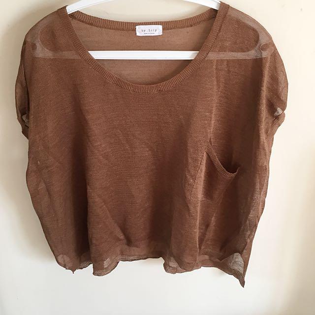 Transparent knit top