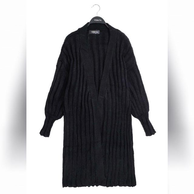 VII&CO 針織毛料長版外套 黑色