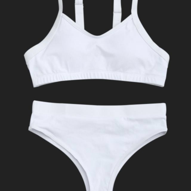 White high cut bikini