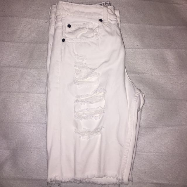 White Knee Length Ripped Shorts SIZE 8