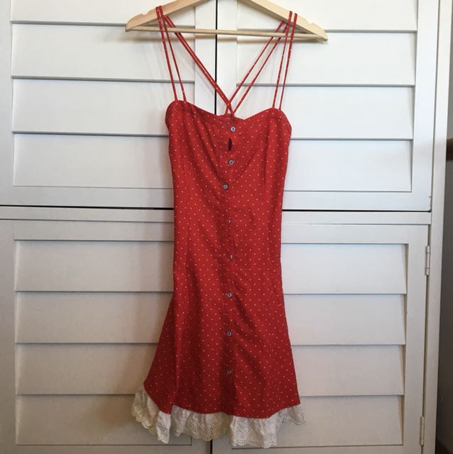 Women's red drill dress
